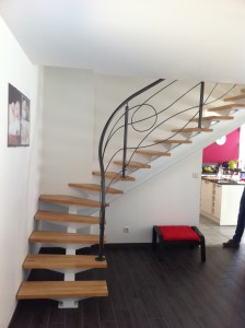 thermolaquage d'un escalier et sa rampe
